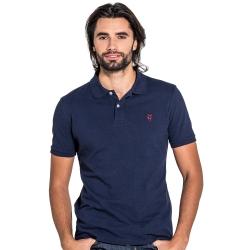 Polo classique bleu marine en coton piqué