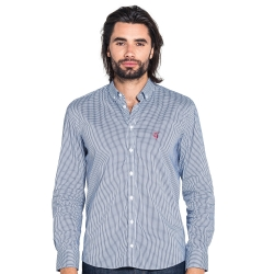 Chemise cintrée à carreaux Vichy bleu foncé
