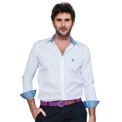 Chemise coupe droite blanche avec contrastes bleu