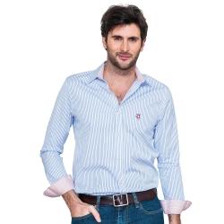 Chemise coupe droite avec rayures bleu et contrastes fleuris