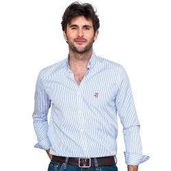 Chemise col boutonné coupe droite avec rayures larges bleu
