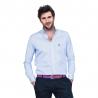 Chemise col boutonné coupe droite avec rayures fines bleu