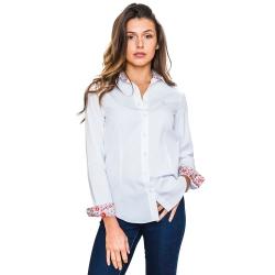 Chemise blanche avec contrastes fleuris