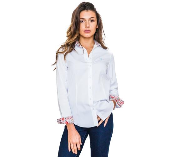 Chemise blanche avec contrastes fleuries