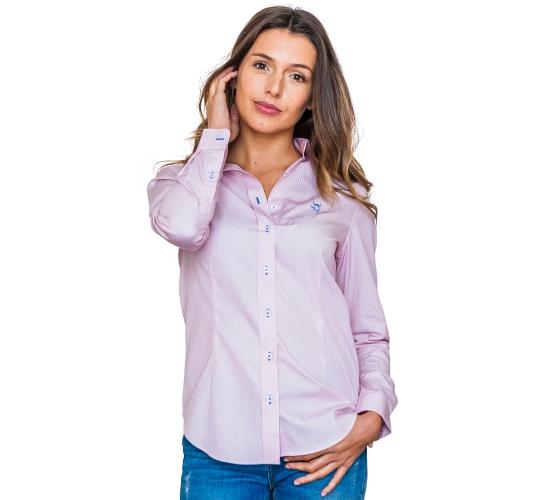 Chemise avec rayures rouges fines