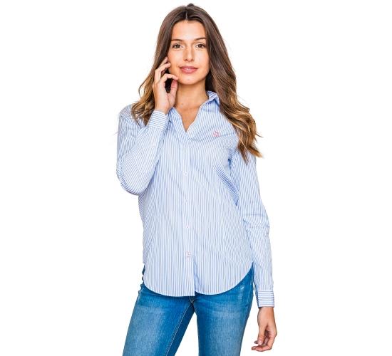 Chemise avec rayures bleu