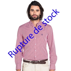 Chemise cintrée à carreaux Vichy rouge